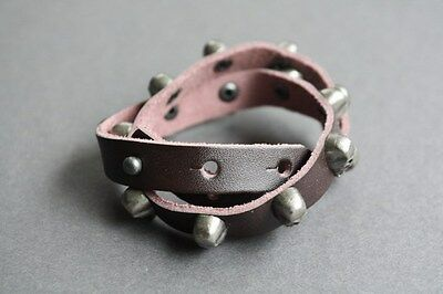 NEW Genuine Leather Skull Wrap Surfer Bracelet Wristband Vintage Brown Cuff Band