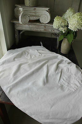 Antique French Country white linen homespun  APRON ~ c1900 Rustic primitive