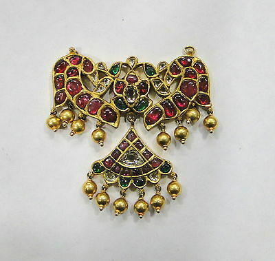 Vintage antique Diamond polki Ruby Emerald 20K Gold Pendant Necklace South India