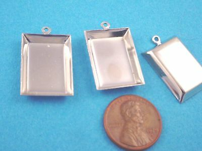 SilverTone Tapered Rectangle Bezel Cups with Loop