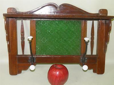 Antique Hand Carved Walnut Arts & Crafts Hat Coat Rack Green Glass