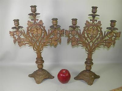 Antique Bronze Candlelabra Pair Ornate Three Candle Holders Grapes Wheat