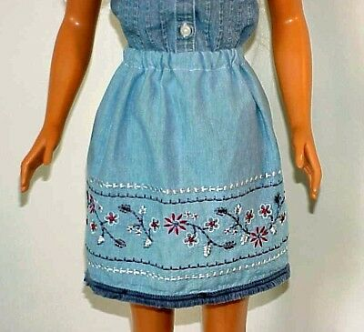 My Size Barbie Chambray Skirt with Embroidery & Beads Border and Fringe Hem