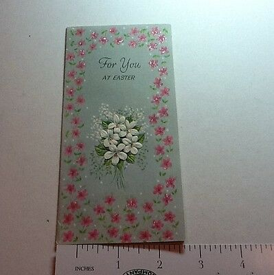 #B409- Vintage Rust Craft Easter Greeting Card Pretty Glittered Floral Bouquet