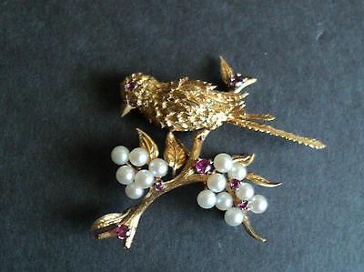 Gorgeous Vintage Estate 14K Gold Pearl & Ruby Figural Brooch, Bird On Branch