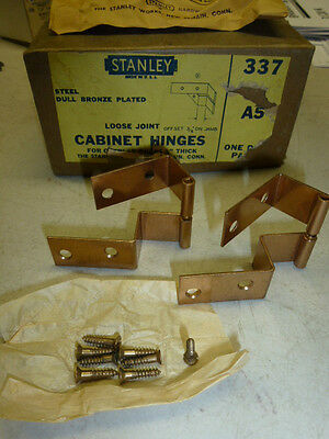 """NOS! STANLEY CABINET HINGES #337, A5, for OVERLAY DOORS 3/4"""" THICK"""