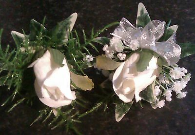 Wedding Flowers Ivory Rose Button Hole Ladies Or Gents