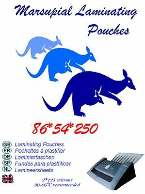 Credit card size ID laminating pouches 54 * 86 mm 250 micron pick your quantity