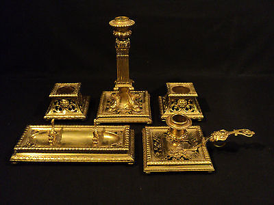 UNUSUAL 5-pc. ANTIQUE FRENCH GILT BRONZE DESK SET w/ ELABORATE DECORATION c.1900