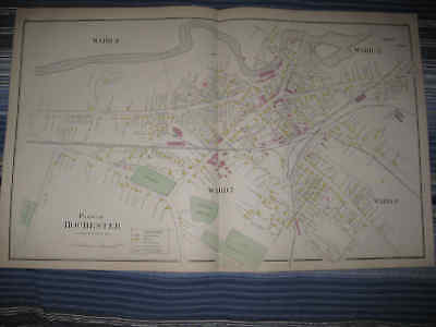 Antique 1892 Rochester New Hampshire Handcolored Map Gonic Rare Superb Nr
