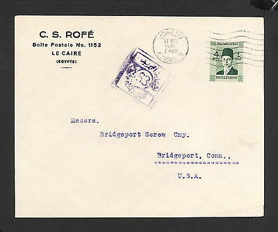 PH4993 1940 Military Postal History Cover Egypt to United States