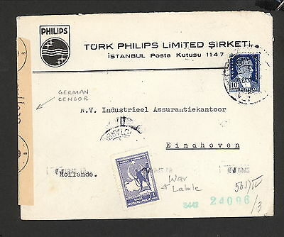 PH5002 1942 WWII Military Postal History Cover Turkey to German Occupied Holland