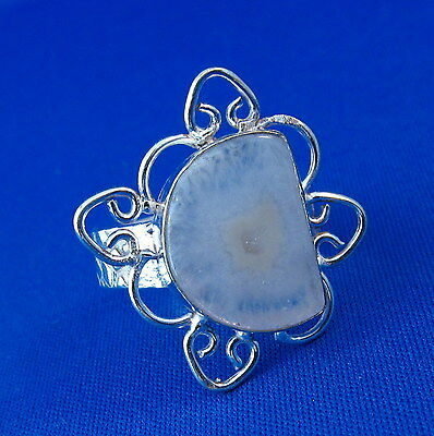 Pretty Natural Agate Silver Ring Size 9.25    AGR249
