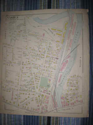 Antique 1892 Nashua New Hampshire Handcolored Map W Industry Land Owners Nr