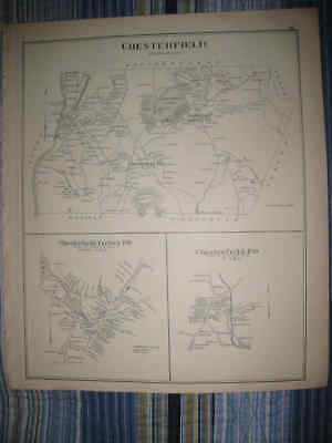 Antique 1892 Nelson Rindge Chesterfield & Factory New Hampshire Map Superb Nr
