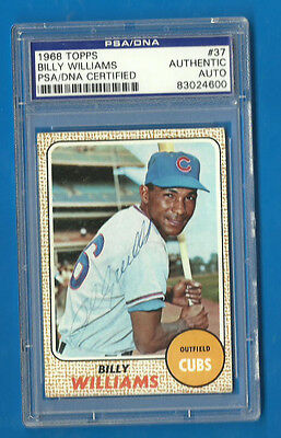 BILLY WILLIAMS Signed 1968 Topps HOF PSA/DNA Cubs A's Autographed Card