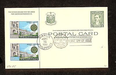 WC5309 1961 Philippines First Day Cover Postal Card