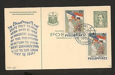 WC5386 1953 Philippines First Day Cover Postal Card