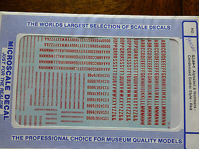Microscale Decal #90025 Gothic - Condensed Letters and Numbers - Red