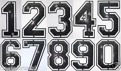 Fabric Glitter Sequin Black Football Number Iron-On Bling Tshirt Transfer Patch