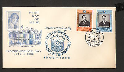 WC5478 1958 Philippines First Day Cover