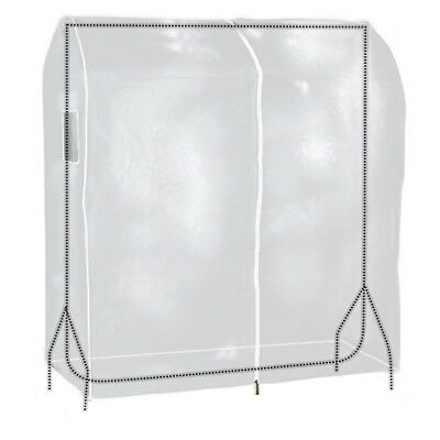 Clear Zipped Clothes Rail Cover Hanging Garment Storage Display 4ft Hangerworld