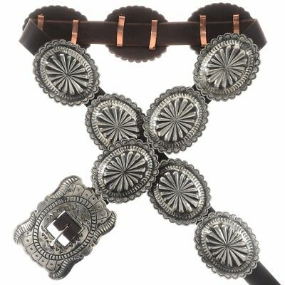 Navajo Classic Hand Stamped Silver Concho Belt Traditional Santa Fe Satin Finish