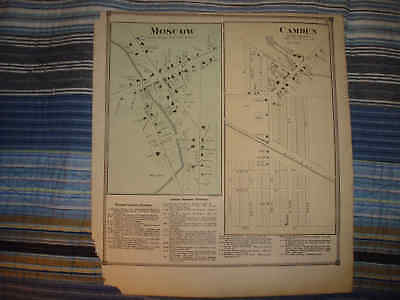 Antique 1872 Moscow Camden Hillsdale County Michigan Handcolored Map Township Nr
