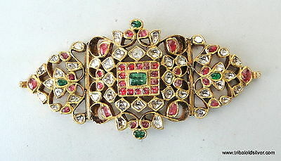 Vintage Antique 20K Gold Gemstone Armlet Bracelet South India Bb Ecl