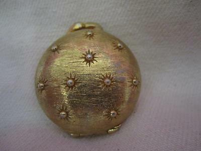 E9 Houbigant Solid Perfume Gold Star Studded Compact