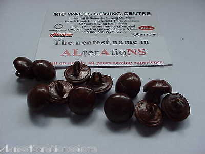 """12  X  5/8"""" Brown Leather Effect Domed Shank Sew Buttons Highest British Quality"""
