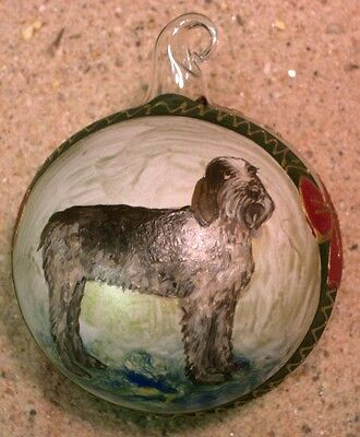 German Wirehired Pointer....  Austrian  Hand Blown Glass  Ornament Hand Painted