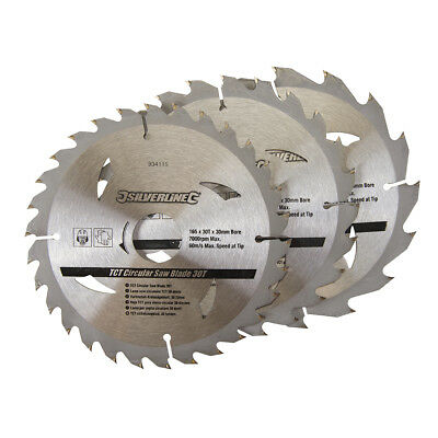 3 Circular Saw Blades 165mm Diameter 30mm Bore 10 20 & 16mm Bushes Mitre 6 1/2
