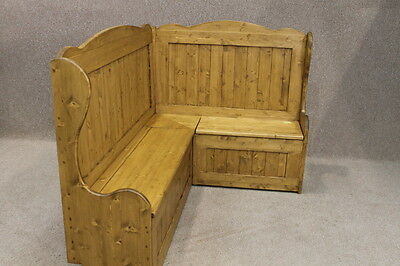 Tall Handmade Rustic Pine Corner Bench Settle Pew High Back 4Ft X 5Ft