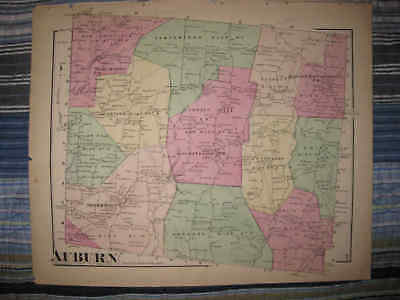 Antique 1872 Auburn Township Susquehanna County Pennsylvania Handcolored Map Nr