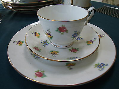 CROWN Staffordshire ROSE PANSY Pattern TRIO Cup, Saucer, Plate MINT