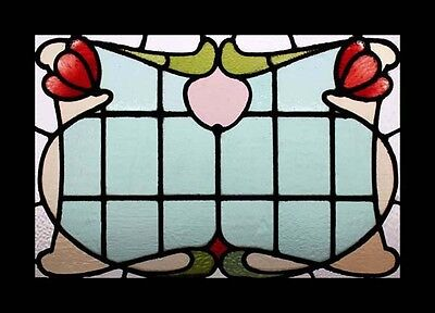 Stunning ART NOUVEAU Floral English Stained Glass Window Free Insured Shipping • CAD $2,285.69