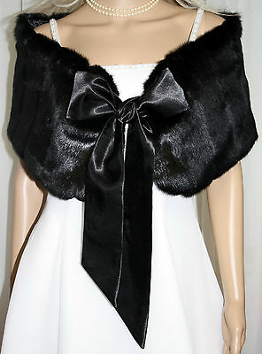 One Black and One White Faux Fur Ribbon Shawl Perfect for Bridal Wedding Formal