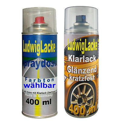 2 Spray im Set 1 Autolack 1 Klarlack je 400ml PEUGEOT KTN Gris Ermitage Metallic