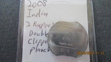 2008 India 2 Rupees Double Clipped Planchet 7091