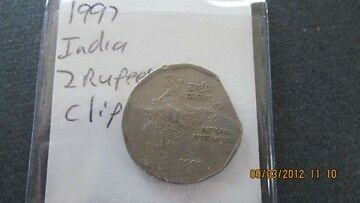 1997 India 2 Rupees Clipped Planchet 7089