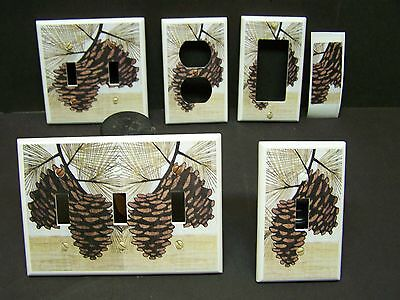PINE CONES FALL LEAVES RUSTIC DECOR LIGHT SWITCH OR OUTLET COVER V249