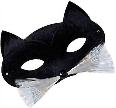 Black Cat Eye Mask with Whiskers, Masquerade Eye Mask, Halloween/Catwoman