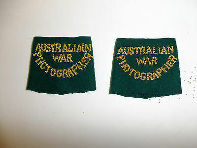 c0053  WW 2 Australian War Photographer Shoulder Tab pair