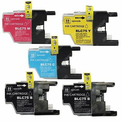 5-PACK High-Yield LC75 Ink Cartridge Set for Brother MFC J430W Inkjet Printer