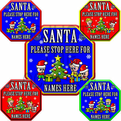 For Christmas SANTA PLEASE STOP HERE Personalised Baby on Board Car Window Sign