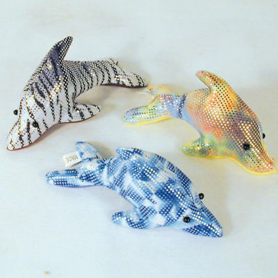 4 SM METALLIC DOLPHIN SAND PETS sea dolphins fish toy paper weight toy pet new