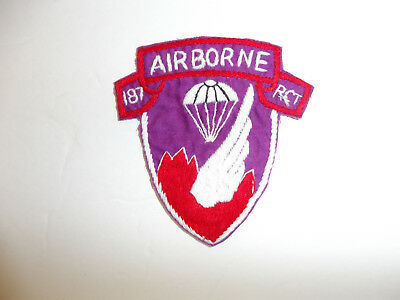 b1200 Korea US Army Airborne 187th RCT Regimental Combat Team Airborne silk R8E