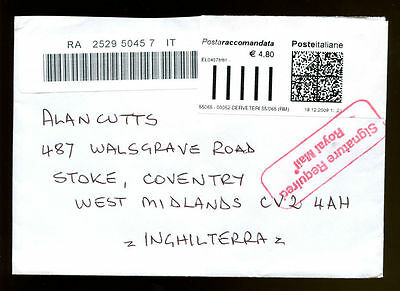 Italy 2009 Registered Airmail Cover To UK #C1123