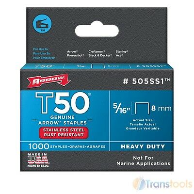 """Arrow T50 and T55 Stainless Steel Staples 8mm 5/16"""" - 1000 Pack"""